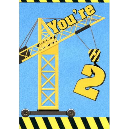 Designer Greetings Construction Crane Age 2 2nd Birthday Card For Boy