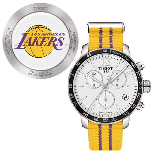Men's 'Quickster' Silver Dial Yellow Fabric Strap Chronograph Los Angeles Lakers Swiss Quartz Watch