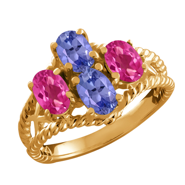 2.00 Ct Oval Blue Tanzanite and Pink Mystic Topaz 18k Yellow Gold Ring by