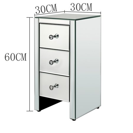 1pcs Mirrored Glass Bedside Table with Three Drawers Silver