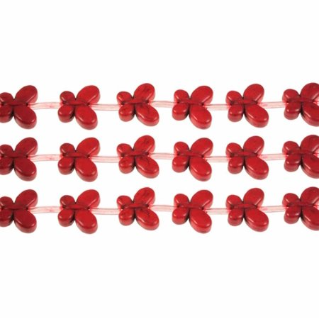 Red 15x20mm Butterfly Chalk Turquoise Dyed 19, Loose Beads,](Butterfly Beads)