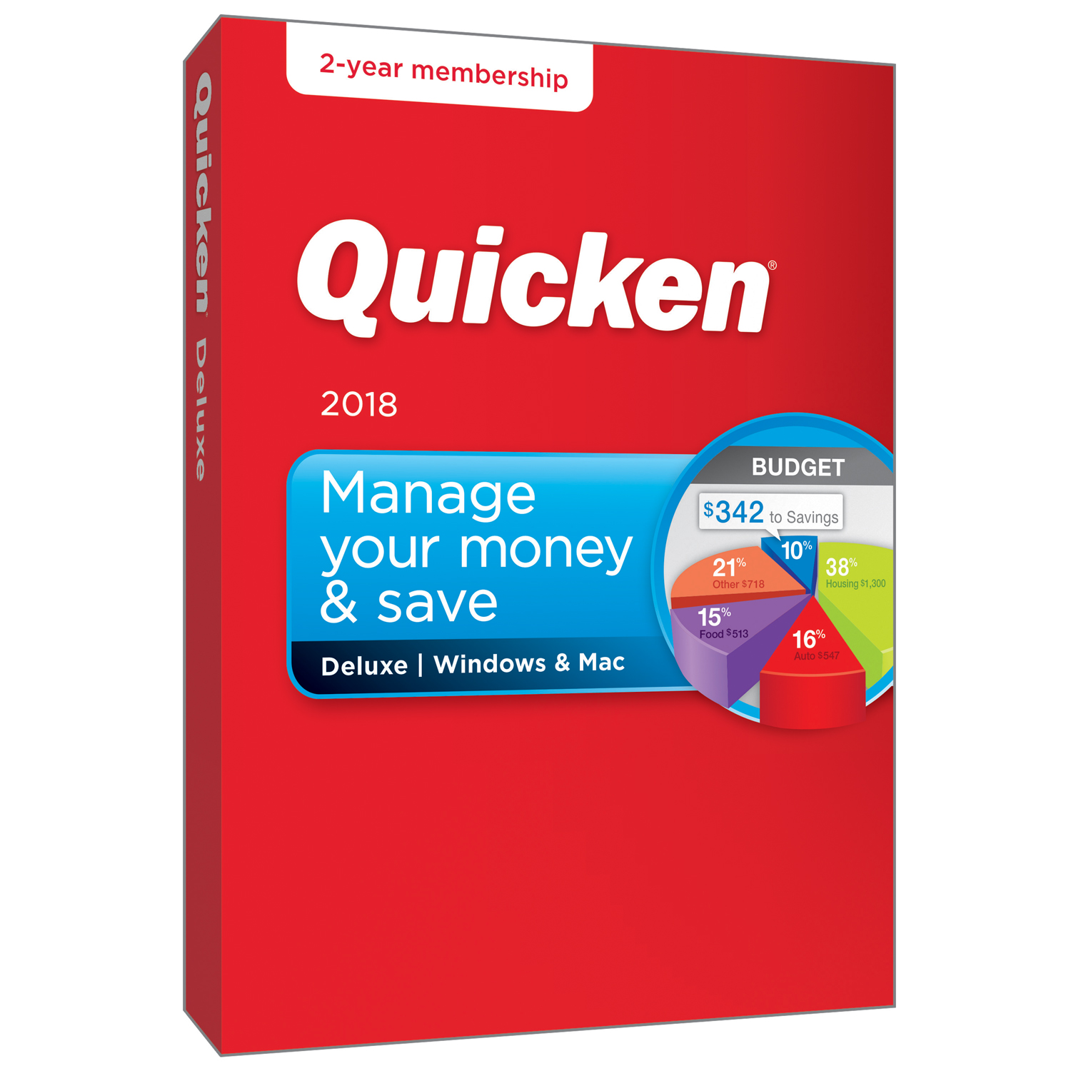 Quicken Deluxe 2 Year Win/Mac (2018 release)