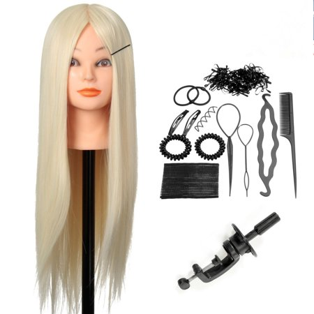 24'' Practice Mannequin Head & 30% Real Human Hair, Cosmetology Hair Training Head+ Braid Set