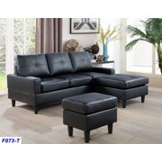 AYCP Furniture Small 3 Seats L Shape Simple Sectional Sofa Couch Set with Ottoman, Left and Right Swap, Faux Leather Upholstery Material, Black Color, 35.8'' H x 78.4'' W x 59'' D