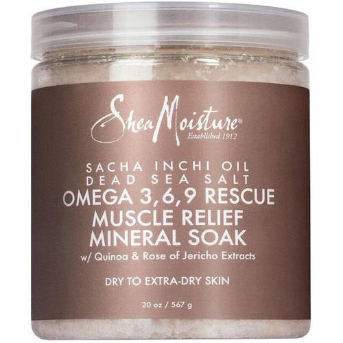 SheaMoisture Sacha Inchi Oil Dead Sea Salt Omega 3, 6, 9 Rescue Muscle Relief Mineral Soak, 20 oz