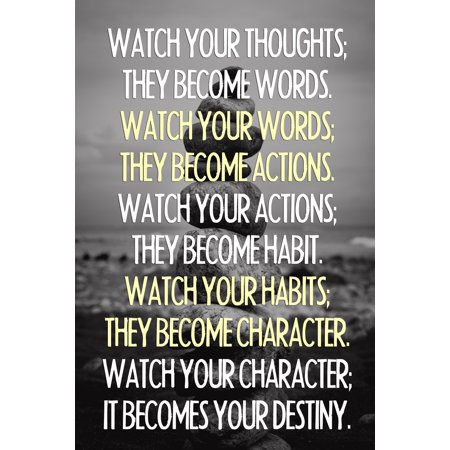 Watch Your Thoughts Buddha Quote Motivational Poster 24X36 Inch