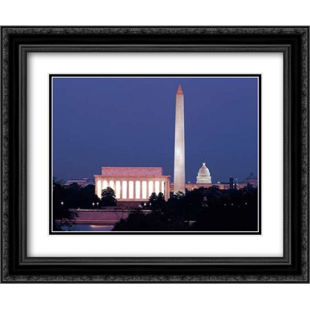 Our treasured monuments at night, Washington D.C. - Vintage Style Photo Tint Variant 2x Matted 24x20 Black Ornate Framed Art Print by Highsmith, (Night Saver Tint)
