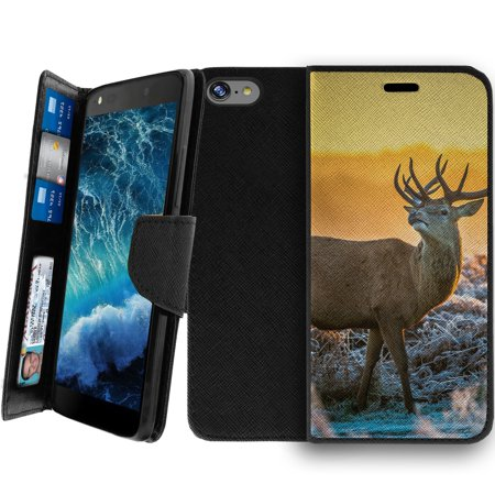 Wallet Case For Apple Iphone 8 4 7    Magnetic Shut Folio Case For Iphone 8  Apple Iphone 8 Leather Case  Clip Folio  Kickstand Secure Id Case Case   Grazing Deer Sunset
