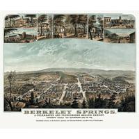 Historic Map of Berkeley Springs West Virginia 1889 Morgan County Canvas Art -  (24 x 36)