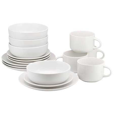 10 Strawberry Street Wazee Matte 16 Pc Coupe Dinnerware Set, White