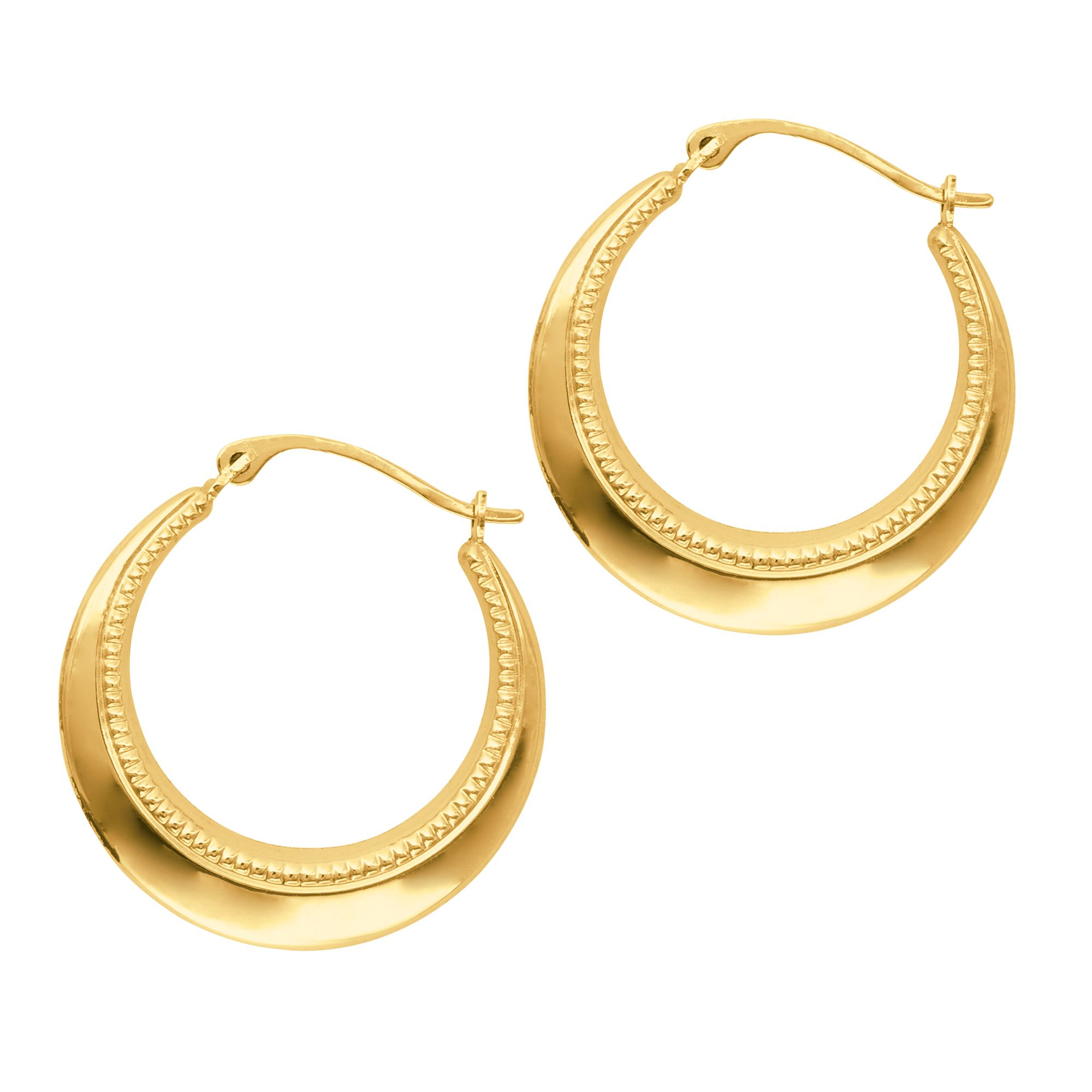14K Yellow Gold Shiny Graduated Hoop Earrings with Hinged by IcedTime