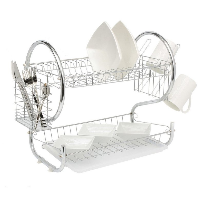 Hot Sale 2 Tier Universal Home Kitchen Organizer Chrome Plate Dish Cup Cutlery Drainer Rack Drip Tray Plates Storage Holder, Silver