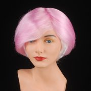 Star Power Short Manic Pixie Girl Parted Costume Wig, Pink, One Size