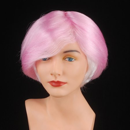 Star Power Short Manic Pixie Girl Parted Costume Wig, Pink, One Size (Pink Costume Wigs)