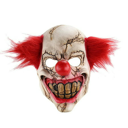 Scary Face Masks (Scary Clown Latex Mask Big Mouth Red Hair Cosplay Full Face Horror Masquerade Adult Ghost Party Masks Halloween)