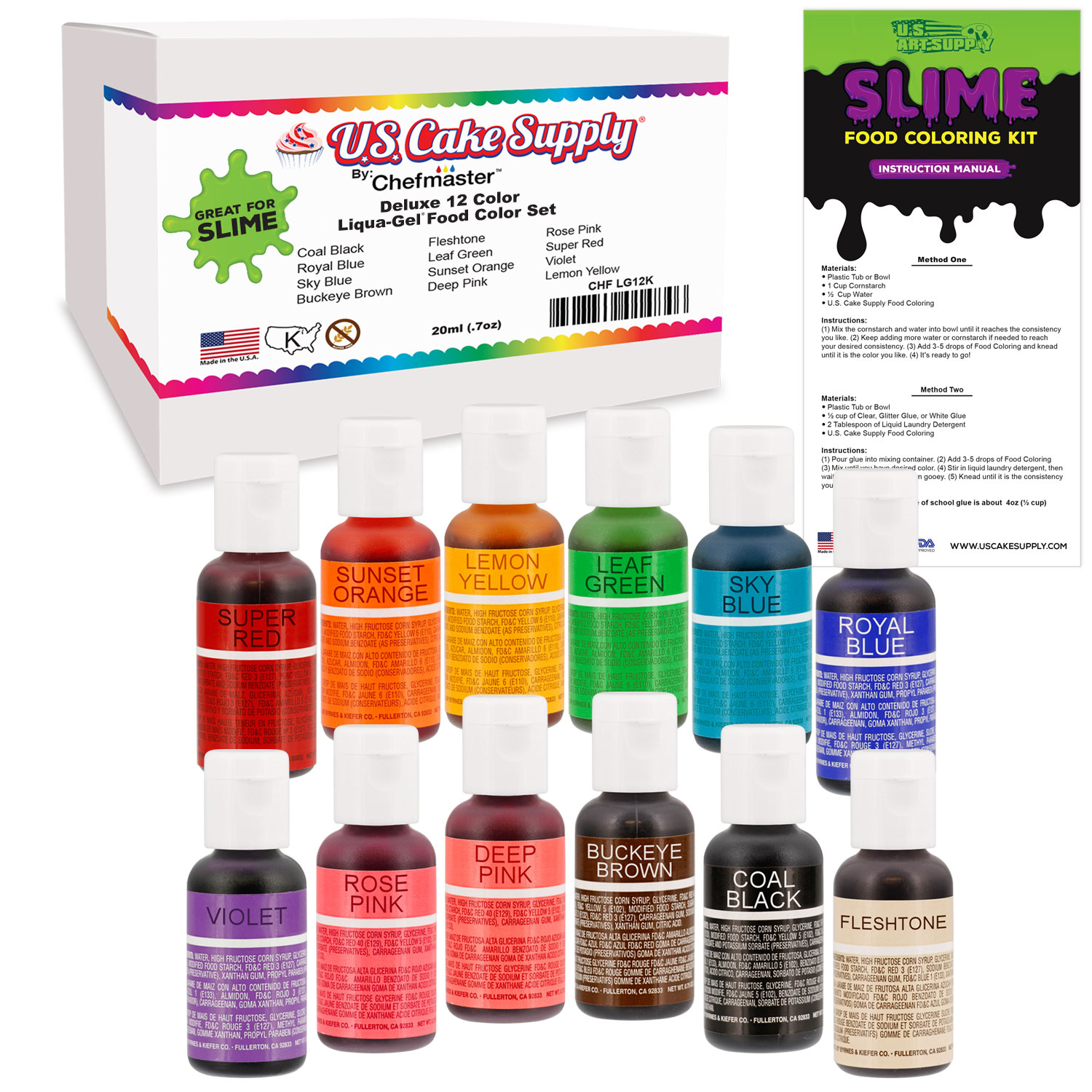 U.S. Art Supply 12 Color Liqua-Gel Slime Making Food Coloring Dye Kit - Non-Toxic, Food Grade