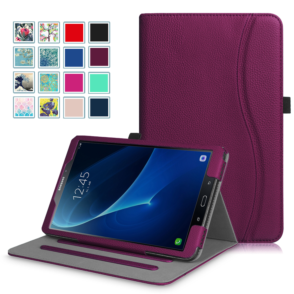 Fintie Case for Samsung Galaxy Tab A 10.1 No S Pen Tablet - Multi-Angle View Stand Cover [Card Pocket], Purple