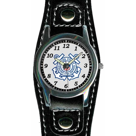 Aqua Force Coast Guard Insignia Black Leather Sports Watch (30M water