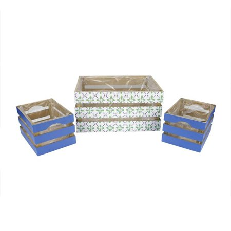 Set of 3 French Countryside Green Rectangular Wooden Decorative Storage Box Nesting Crates 13.5