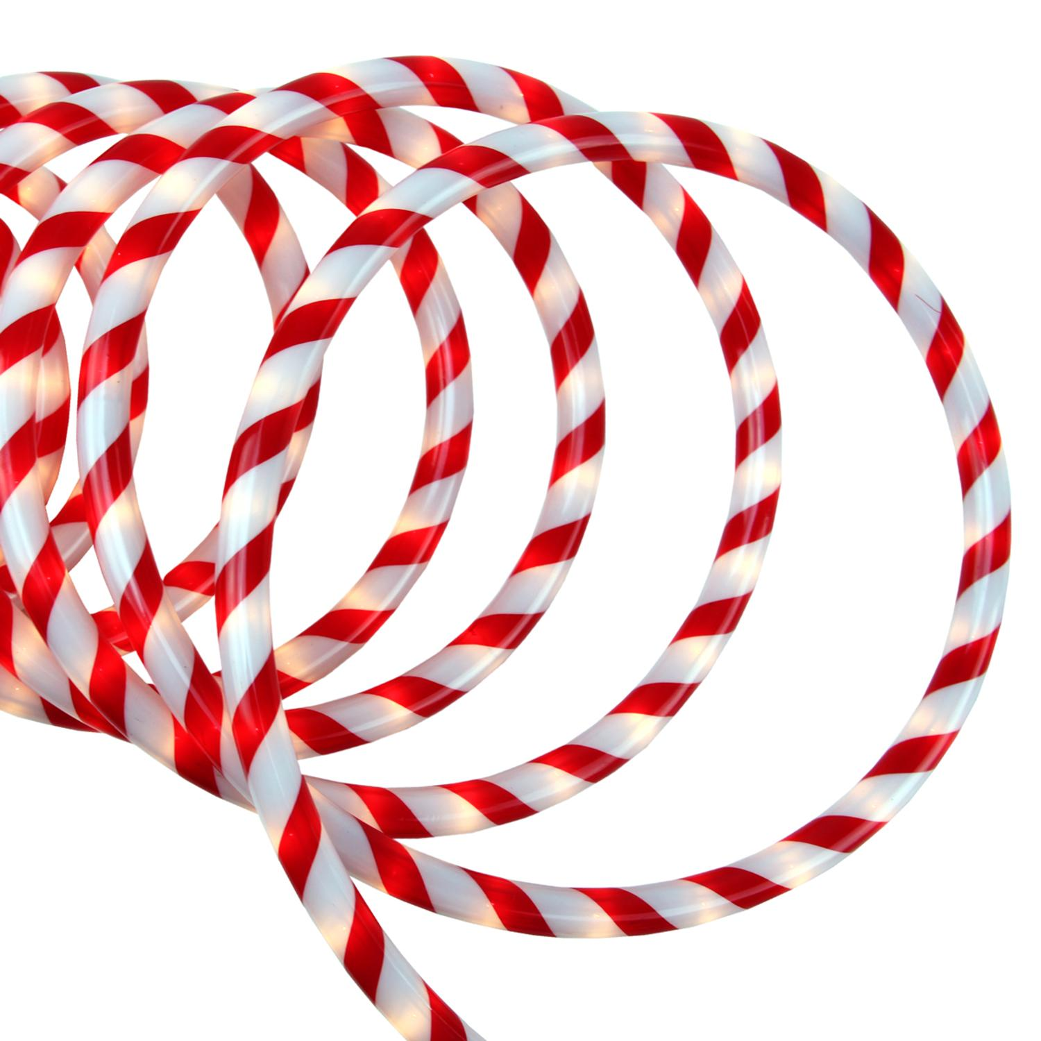 18 Red and White Candy Cane Indoor Outdoor Christmas Rope