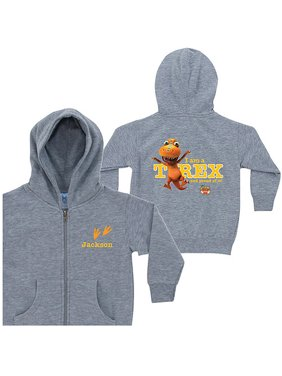 Personalized Dinosaur Train Proud T-Rex Gray Toddler Boy Zip-Up Hoodie