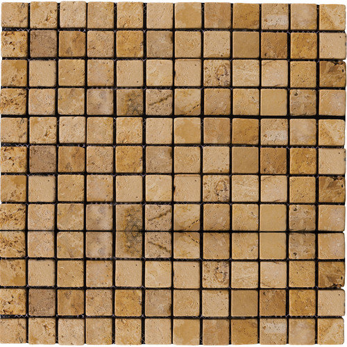 Emser Tile Natural Stone 1'' x 1'' Travertine Mosaic Tile in Oro