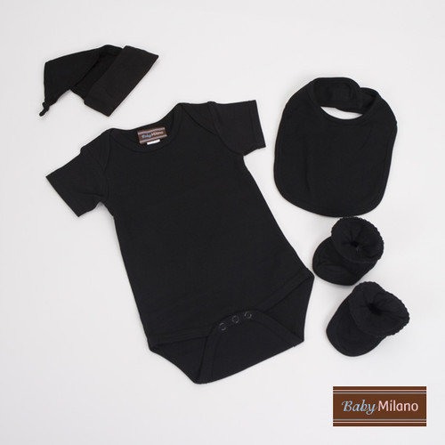 Baby Milano Infant Bodysuit, Bib, Knotted Hat and Booties Gift Set in Black
