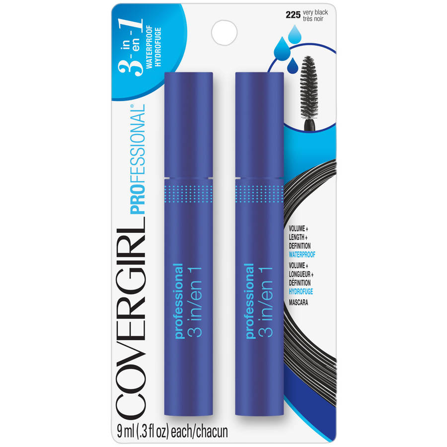 COVERGIRL Professional Waterproof Mascara, 225 Very Black, 0.3 oz, 2 count