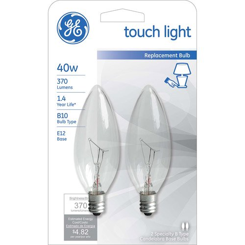 GE INCANDESCENT 40W CLEAR SMALL BASE DECORATIVE TOUCH LIGHT 2 COUNT