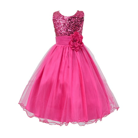 StylesILove Lovely Sequin Flower Girl Dress, 5 Colors (5-6 Years, Rose) - Minnie Mouse Pink Dress