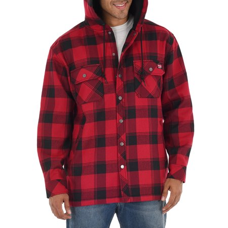 Wrangler Men's Essential Shirt Jacket with Polar Fleece Lining and Hood