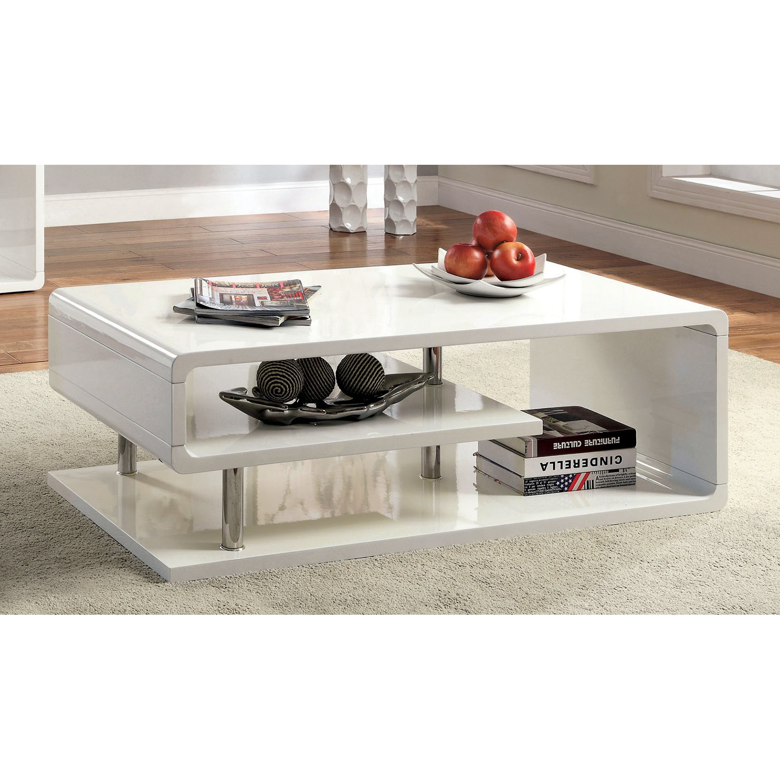 Furniture of America Rocca Modern Tier Coffee Table - White