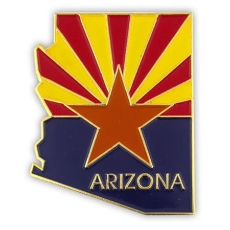 State Shape of Arizona and Arizona Flag Lapel Pin 1-1/8