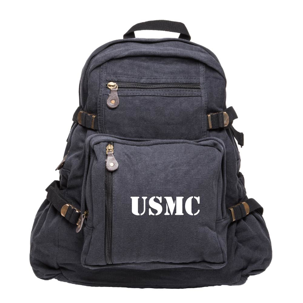 USMC United States Marine Corps Text Army Sport Heavyweight Canvas Backpack Bag