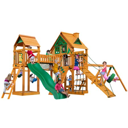 Pioneer Swing Set - Gorilla Playsets Pioneer Peak Treehouse Wooden Swing Set with Tire Swing, and Clatter Bridge and Tower