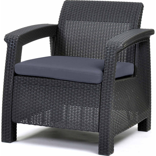 Keter Corfu Armchair All Weather Outdoor Furniture with Cushions, Charcoal