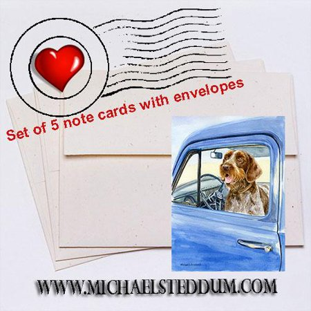 - Sunday Driver, German Wirehaired Pointer Note Card Set