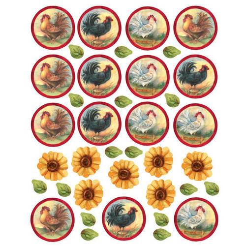 "Wallies Peel & Stick Roosters & Sunflowers, 15.75"" x 19.75"""