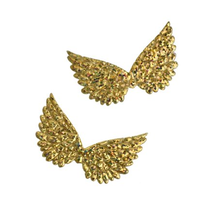 Holographic Embossed Angel Wing Party Favor Embellishments, 1-1/2-Inch, 6-Count, Gold