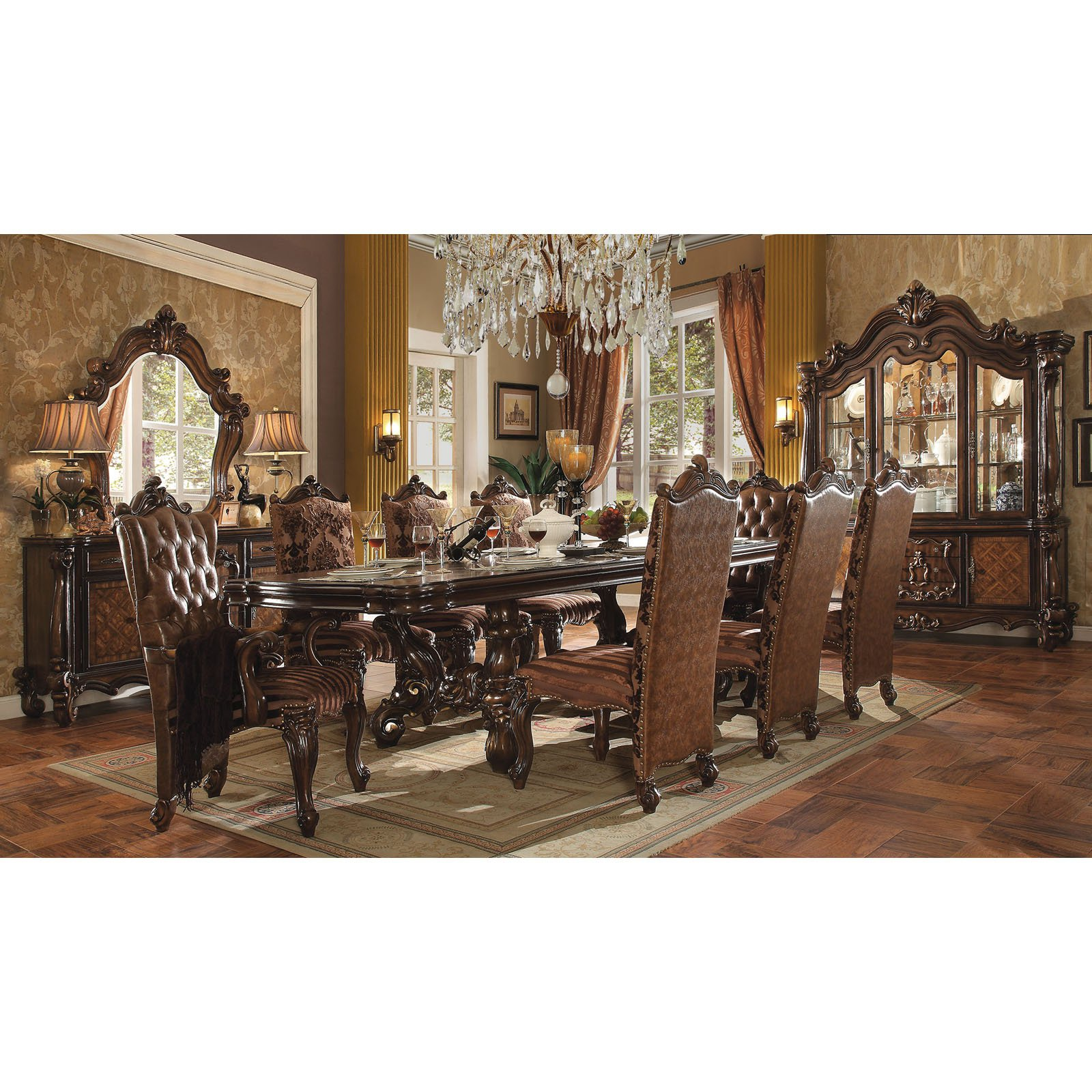 Acme Furniture Versailles Rectangular Pedestal Dining Table by