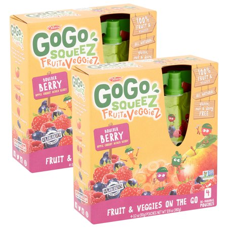 (2 Pack) Gogo Squeez Fruit & Veggiez On The Go Boulder Berry, 3.2 oz Pouch, 4 Count -