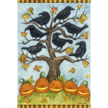 Image of Crows n Jacks 12.5 x 18 Inch Decorative Fall Autumn Halloween Pumpkin Bird Garden Flag