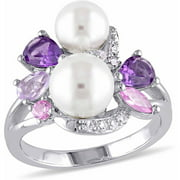 6.5-7mm, 7.5-8mm White Round Cultured Freshwater White Pearl with 1-3/8 Carat T.G.W. Amethyst, Rose de France, Created Rose and White Sapphire Sterling Silver Link Ring