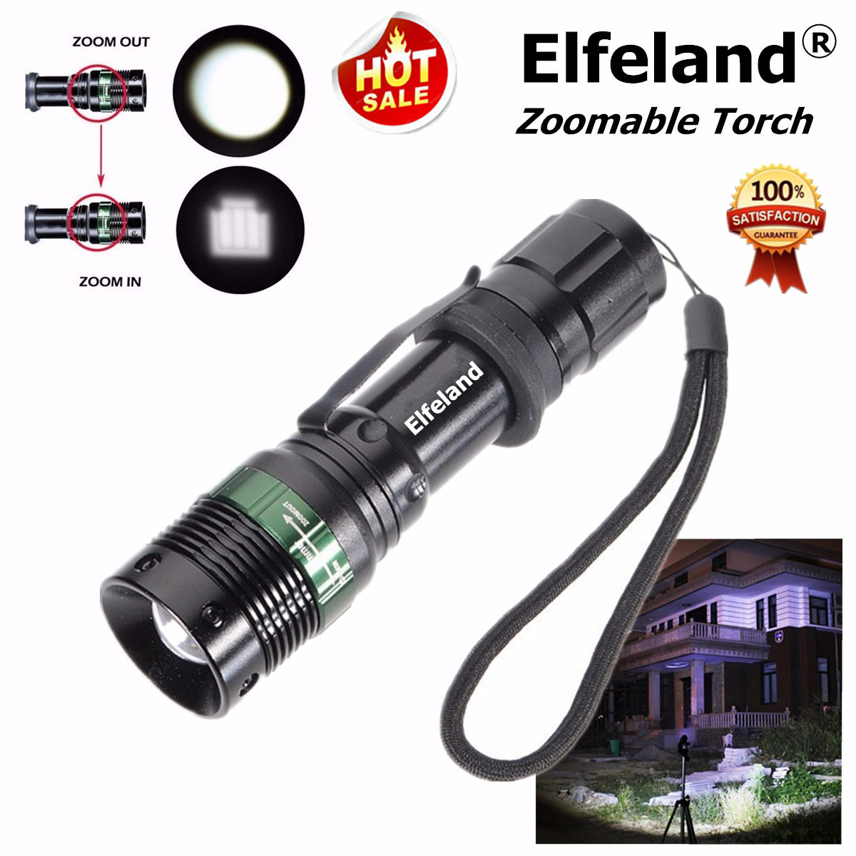 Elfeland 2000Lumens T6 LED Zoomable Flashlight Torch Lamp Light 3-Mode For Fishing Camping
