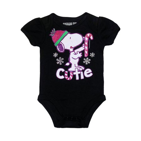 Peanuts Infant Girls Black Snoopy Cutie Christmas Bodysuit