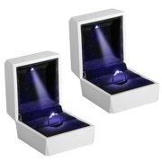 2-pack Night Box Light up LED, Diamond Ring Box White LED Light Velvet Jewelry Gift for Wedding Proposal Engagement