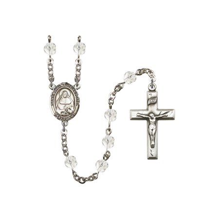 St. Marie Magdalen Postel Silver-Plated Rosary 6mm April Crystal Fire Polished Beads Crucifix Size 1 3/8 x 3/4 medal charm