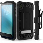 Motorola Moto E6 Case, Evocel [Glass Screen Protector] [Belt Clip Holster] [Metal Kickstand] [Full Body] Explorer Series Pro Phone Case for Motorola Moto E6, Black
