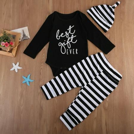 3PCS Baby Boy Infant Cotton Romper Tops+Striped Pants Hat Outfit Clothes Set Hot Black 0-6 Months