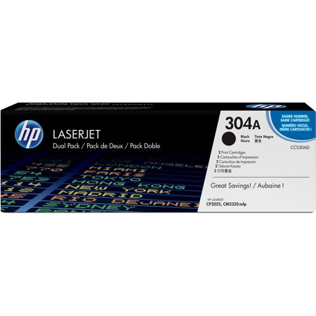 HP 304A (CC530AD) Black Original LJ Toner Cartridges, 2 - Multi Pack Compatible Toner